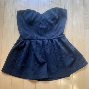 Urban outfitters black peplum strapless top